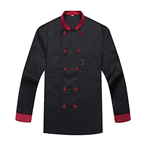 Chefs Jacket catering uniforms Unisex Long Sleeves Black