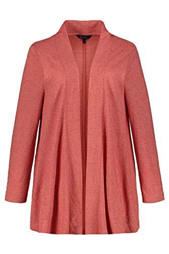 Ulla Popken Damen große Größen bis 64, Shirtjacke aus meliertem Jersey, Weite & offene Form, breiter Schalkragen, Langarm, melonen-pink 50/52 722394 53-50+