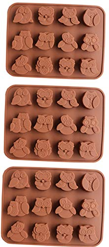 Set of 3 Silicone Cake Mold, 12 Cavity Chocolate Mold, Ice Lattice DIY Chocolate Mold Handmade Soap Mold—Owls with Different Expressions