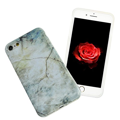 iPhone 6S Plus Marmor Hülle,iPhone 6 Plus Marble Case,Sunroyal Kreative Stylish Schickes Retro Elegant Schön Luxus Weiß Schwarz Granite Grain Stein Pattern Silikon Handyhülle Weiß Stein Glamour Ultrad Pattern 11