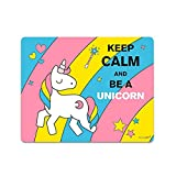 Einhorn-Mousepad Keep Calm and be a Unicorn I dv_145 I 24 x 19 cm I Mauspad süß flach rechteckig rutschfest mit Einhorn-Motiv
