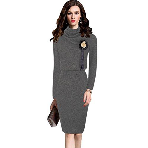 YiLianDa Donna Vestiti Invernali Eleganti Pullover Abito Manica Lunga Mini Dress Casuale Vestito A Maglia Maglione Grigio