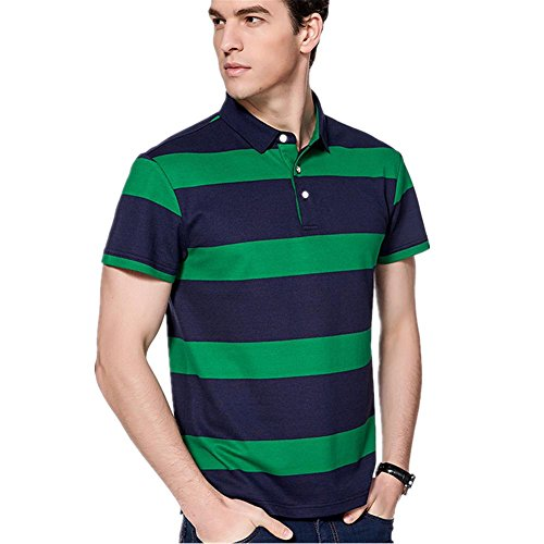 SHISHANG La fibra de bambú de la camiseta + algodón rayas solapa de los hombres europeos de gama alta de la manga corta delgada de verano cómoda selección de 3 colores , green , 190/xxxl