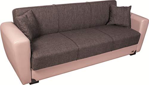 Enrico coveri contemporary divano letto 3 posti beige e marrone, elegante con funzione letto in tessuto ed ecopelle, dimensioni: 220 x 85 x 85 cm