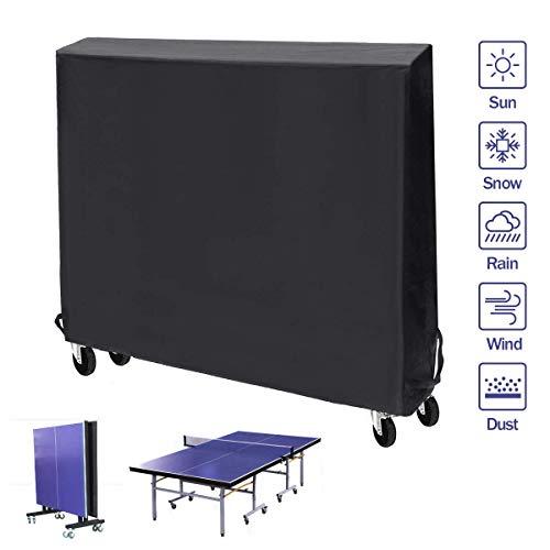 PATHONOR Abdeckhülle für Tischtennisplatten mit Reißverschluss Oxford Polyester Ping Pong Tisch Abdeckung Wasser und UV beständig 210D 165 * 185 * 71cm