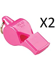 Fox 40 Pearl Whistle, Referee, Safety Alert, Dog, Rescue, Outdoor-Pink (2-Pack)