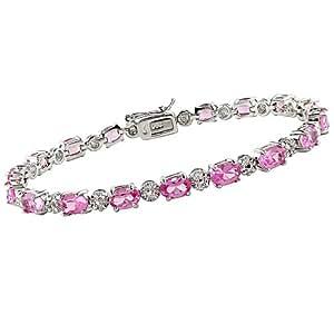 "10 1/4 Karat Rosa Saphir und Diamant Armband aus Sterlingsilber, 17,7 cm (7"")"