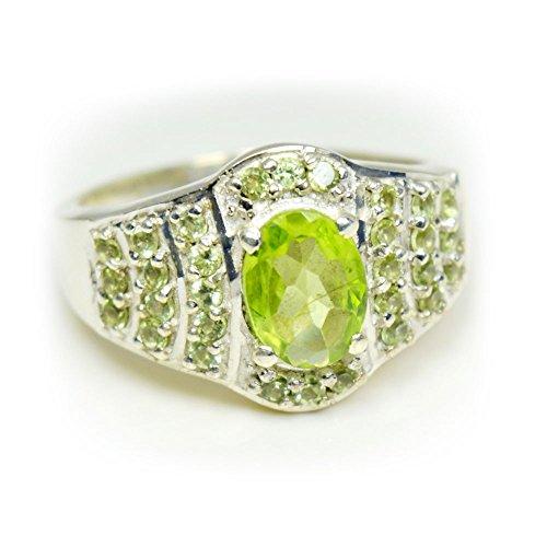 gemsonclick 925Sterling Silber grün peridot Ring Jewelry gocmsr-142