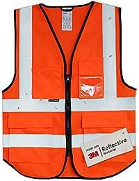 Salzmann Gilet de Sécurité/Gilet de Travail/Veste de Haute Visibilité fabriqué avec Matériau Scotchlite 3M Réfléchissant avec Quatre Poches et Fermeture Éclair, Orange Rouge, S/M