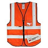 Salzmann Gilet de Sécurité/Gilet de Travail/Veste de Haute Visibilité fabriqué avec Matériau Scotchlite 3M Réfléchissant avec Quatre Poches et Fermeture Éclair, Orange Rouge, L/XL...