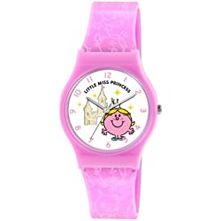 Mr Men and Little Miss Girl's Quartz Watch with White Dial Analogue Display and Pink PU Strap LM0001