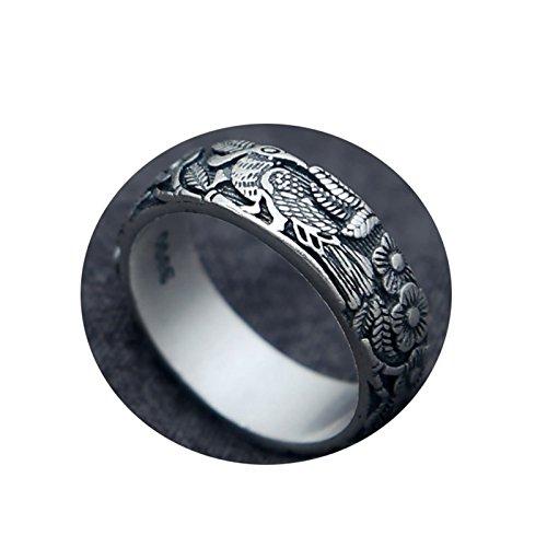 Adisaer Ring Silber Jugendstil Ring Frauen Vergoldet 925 Sterling Schwarz Damen Herrn Vintage Matt...