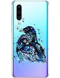 Oihxse Compatible con Huawei Y6 Pro 2019/Y6 2019/Enjoy 9E/Honor 8A Funda Suave Gel TPU Silicona Cristal Transparente Carcasa Acuarela Animal Pintado Patrón Protectora Estuche Bumper Caso Case (B2)