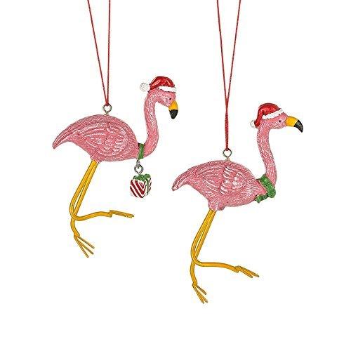 Pink Flamingo in Santa Hat Kunstharz Weihnachten Ornament Set von 2
