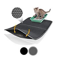 Bella & Balu XXL Cat Litter Mat with Honeycomb Design - Washable Carpet with Cat Toilet as Surface - For a Clean Apartment without Cat Litter (Grey | 39 x 25 Inch)