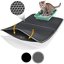 Bella & Balu XXL Alfombrilla Gato con diseño Panal - Alfombra Lavable con Fondo higiénico para