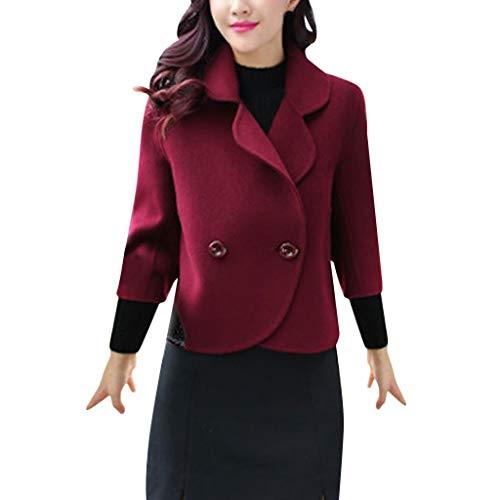 FRAUIT Business Casual Kurz Wollmantel Damen Elegant Wintermantel Knopf Revers Jacke Kurz Trenchcoat | weicher Dufflecoat | Parka - Jacke Mode Elegant Streetwear
