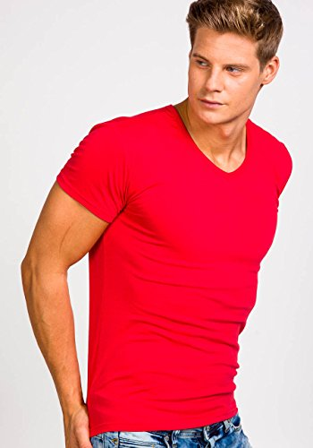 BOLF Herren T-Shirt Tee Kurzarm Classic V-Neck Rundhals Unifarben 3C3 Slim Fit Rot_2006