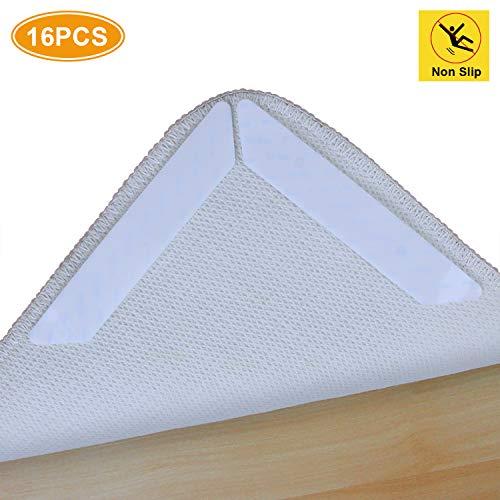 AK KYC Anti-Roll-Teppich-Greifer für Teppiche und Ecken, flach, Hartplastik, 3-lagiges Design, wiederverwendbares Teppich-Klebeband, für alle Hartholzböden, Weiß, 16 Stück