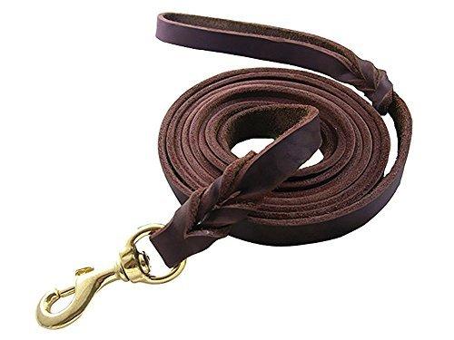 Rantow Pet Correa fuerte para grandes / perros medianos, 120 cm x 1,2 cm, genuino cuero marrón...
