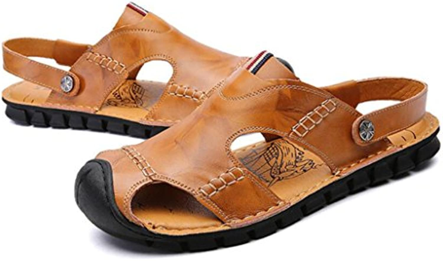 GAOLIXIA Herren Leder Breathable Sandalen Sommer Hohl Hausschuhe Komfortable Outdoor Casual Schuhe Mode Durable