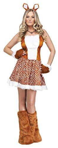 Erwachsene Damen Sexy Weihnachten Rentier Animal Weihnachten Kostüm Kleid Outfit - Braun, 40-42 (Damen Rentier Kostüme)