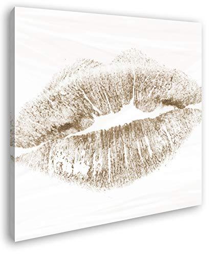 deyoli Roter Lippenstift Abdruck Format: 60x60 Effekt: Sepia als Leinwandbild, Motiv fertig gerahmt...