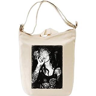 SOULSTAR Tattoo Babe Smoking Canvas Day Bag| 100% Premium Cotton Canvas| DTG Printing| Unique Handbags, Briefcases, Sacks & Custom Fashion Accessories For Men & Women