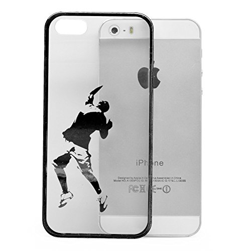 iProtect Schutzhülle Apple iPhone 5, 5s, SE Hülle Walking Dog Edition transparent pink Schwarz Ball Game