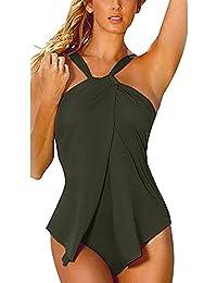 HANMAX Maillot de Bain Femme 1 Pièce Amincissant Taille Haute Sexy Bandage Dos Nu Bikini Femme