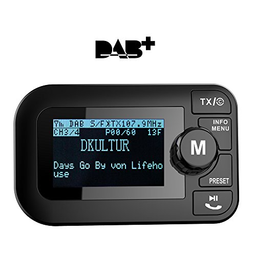 Onlyesh Dab Auto Radio Empfänger Adapter, FM Transmitter Bluetooth MP3 Musik Dab Plus Autoradio mit Guten Ton-Qualität Freisprecheinrichtung 2.3 Zoll LCD Display USB Auto Ladegerät MEHRWEG
