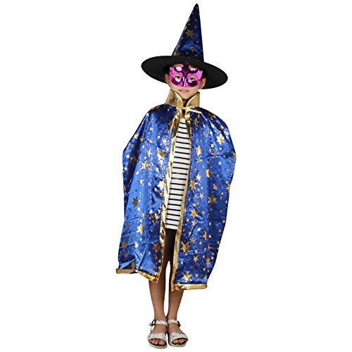 Tincocen 2 Stück/Satz Halloween Ornamente Kinder Mantel + Hut Stars Dekoration Cosplay Hexe Enchanter Kinder Jungen Mädchen Poncho + Kappe Kostüm für Kinder Kleinkinder Kinder Jungen/Mädchen - Blau (Blau Hexe Kostüm Kleinkind)