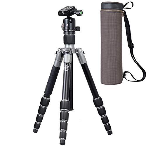 P&KK Leichtes Stativ tragbares, professionelles Magnesiumlegierungs-DSLR-Kamerastativ Einbeinstativ mit 360 ° -Panorama-Kugel und als Wanderstock verwendbar A61
