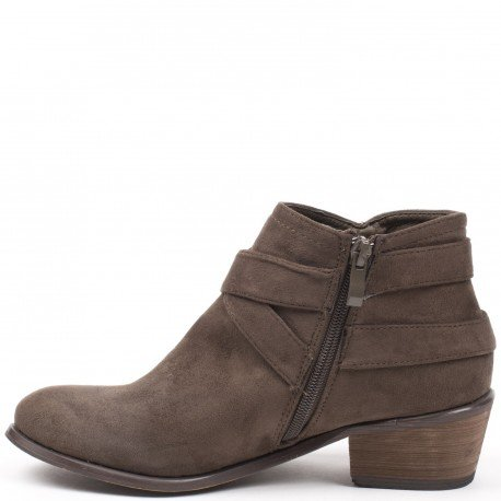 Ideal Shoes - Bottines basses effet daim avec ceinturons Keline Taupe