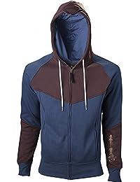Assassin's Creed: Unity - chaqueta con capucha - con estampado de la hoja oculta y el logotipo, algodón, azul y marrón