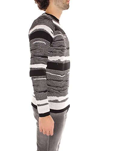 Guess Herren Pullover Ls Rn Jaquard Swtr Multicolore (Wht & Blk Animalier)
