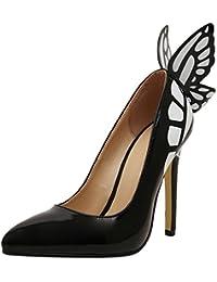 SYYAN Mujeres Puntiagudo Hebilla De Perforación Mariposa Perla Cristal Hecho A Mano Bomba Zapatos De Boda Blanco , white , 38