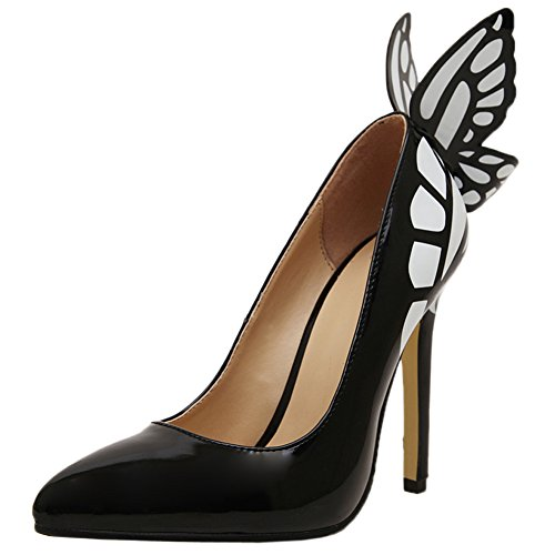 HooH Femmes Escarpins Pointu Toe Papillon Talons hauts Slip On Noir