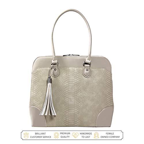 BFB Laptop Tragetaschen für Frauen-33cm Laptop-Umhängetasche-Designer Handgefertigte Handtasche-Qualität, DASS 's Made to Last beige cremefarben (Faux-leder-aktenkoffer-tasche)