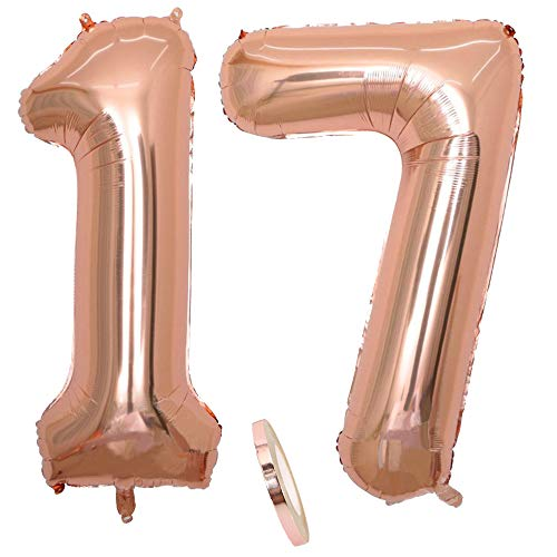 2 Globos Número 17,Number17 Globo Chica de oro rosa, 40 'Figuras de globos de oro rosa inflable con forma de helio, Globo de oro rosa para fiesta de cumpleaños, Fiesta de graduación (xxxl 100 cm)