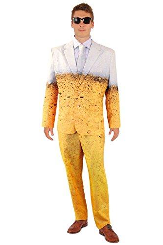 Lustiger Bier Anzug mit Krawatte Herren Kostüm Sakko Jackett Hose Karneval Party, Größe:52