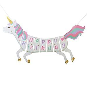 ZoomSky Einhorn Happy Birthday Banner, Kinder Geburtstag Girlande Wimpelkette Unicorn Themed Partydeko Garland Foto Requisite Regenbogen Magisches Pferd Design mit Gold glittter