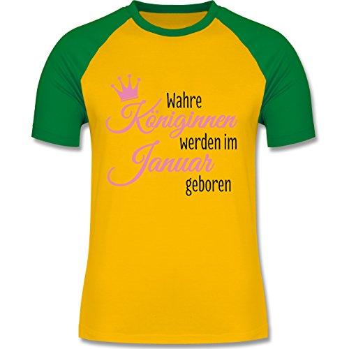 Geburtstag - Wahre Königinnen werden im Januar geboren - zweifarbiges Baseballshirt für Männer Gelb/Grün