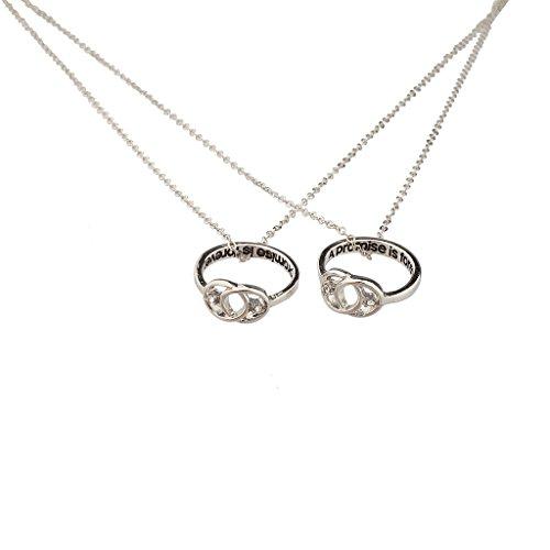 LUX Zubehör Ein Versprechen ist für immer, Unendlicher Knoten, beste Freunde,  passender Ring und Halskette, Set. (Versprechen Ringe Halskette)