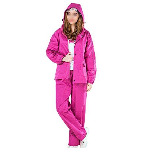 NYDZDM Regenmantel / Regenbekleidung Regenhosenanzug/Erwachsene mit Kapuze Fahrrad Regenponcho/Frauen verdicken Hosen und Jacke Regenmantel Set gelb, rosarot (Farbe : Rose rot, größe : L)
