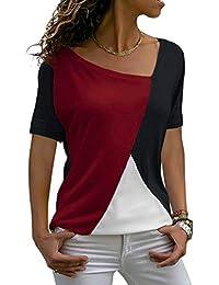 ZJCTUO Damen T-Shirts Langarm Langarmshirt Patchwork Locker V-Ausschnitt Bluse Oberteil Top