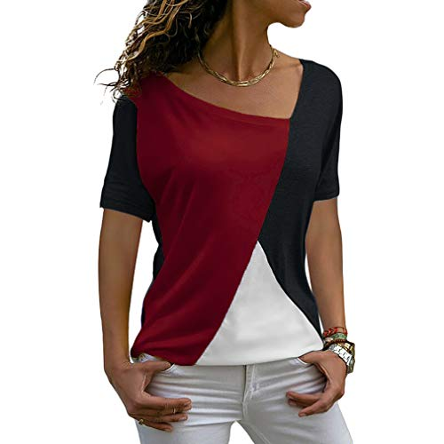 53e0332605bc SUNWEST Womens Tops Short Sleeve Patchwork Color Block Summer Casual Basic  Tee Shirts Loose Fit Tunic Tops Blouses, Black red, L(UK16-18)