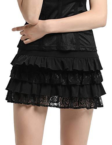 SCARLET DARKNESS Frauen Gothic Spitze Patchwork Rüschen Viktorianische Minirock schwarz Größe XXL (Shorts Rüschen Halloween)