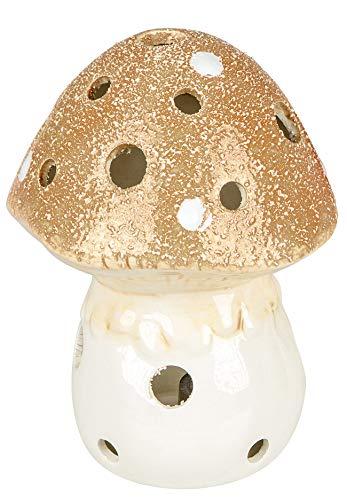 dekojohnson Windlicht-Pilz Deko braun Porzellan 17cm Kerzenhalter Teelichthalter für außen und innen Herbst-Dekoration -