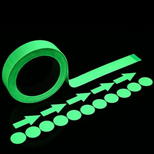 (Lvcky 39,4Füße Glow Tape in The Dark mit 24teilig Luminous Dot Tape und Arrow Aufkleber 2,5cm nachleuchtend Wasserdicht Selbstklebend)